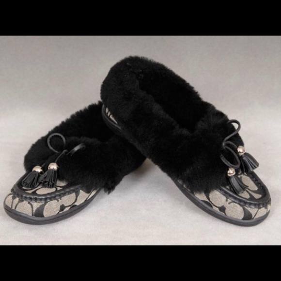5434e6737c3 Coach Shoes - Coach  Fiona  Moccasin Slippers with Shearling Fur